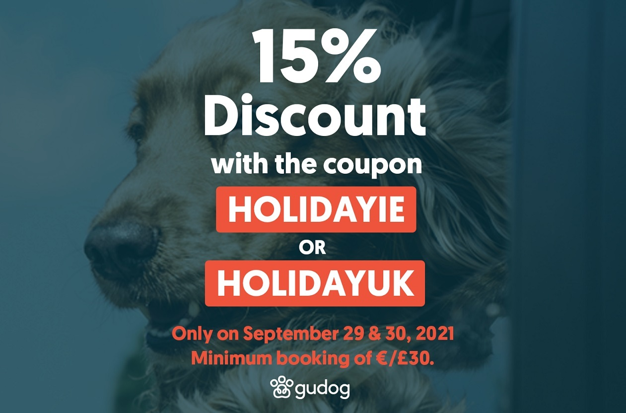 15% discount when booking a sitter on Gudog